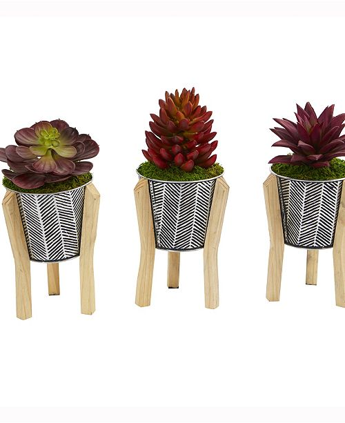 Nearly Natural 11in. Mixed Succulent Artificial Plant in Tin Planter with Legs Set of 3