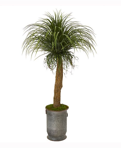Nearly Natural 64in. Pony Tail Palm Artificial Plant in Copper Trimmed Metal Planter