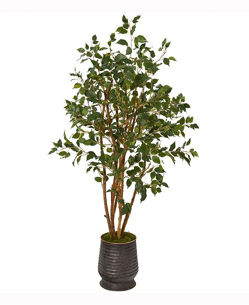 Nearly Natural 4.5ft. Ficus Artificial Tree in Ribbed Metal Planter