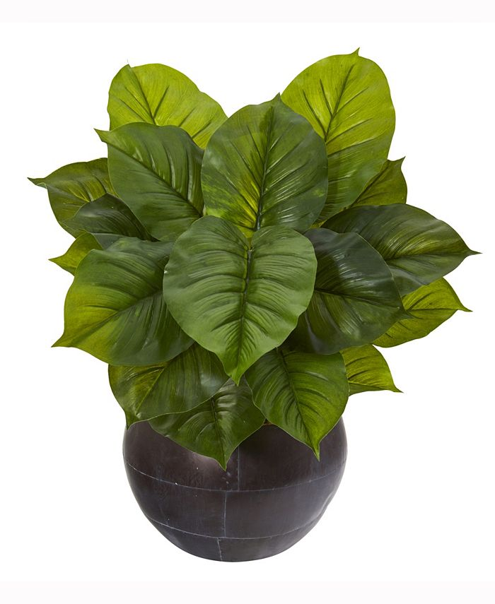 Nearly Natural - 26in. Large Philodendron Artificial Plant in Metal Bowl Real Touch