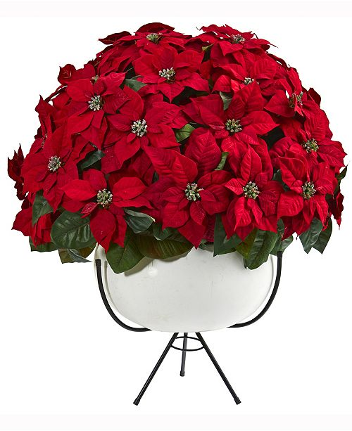 Nearly Natural 33in. Grand Poinsettia Artificial Arrangement in White Vase with Metal Stand