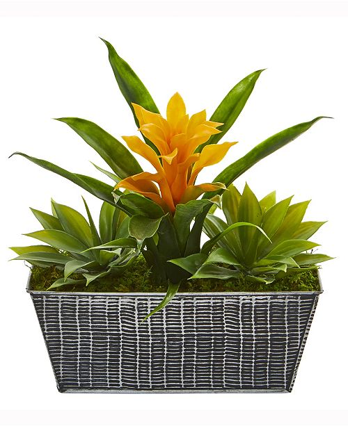 Nearly Natural 11in. Bromeliad and Agave Artificial Plant in Embossed Tin Planter