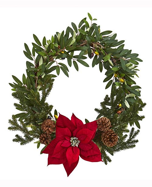 Nearly Natural 20in. Olive with Poinsettia Artificial Wreath