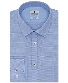 Men's Ultimate Slim-Fit Non-Iron Performance Stretch Medium Blue Dobby Dress Shirt, Created For Macy's