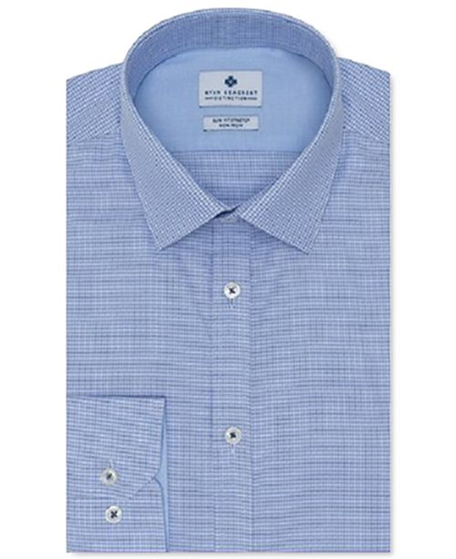 Ryan Seacrest Distinction Men's Ultimate Slim-Fit Non-Iron Performance Stretch Medium Blue Dobby Dress Shirt, Created For Macy's