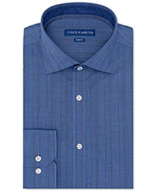 Men's Slim-Fit Performance Stretch Dark Blue Chambray Stripe Dress Shirt