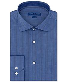 Men's Slim-Fit Performance Stretch Dark Blue Chambray Stripe Dress Shirt