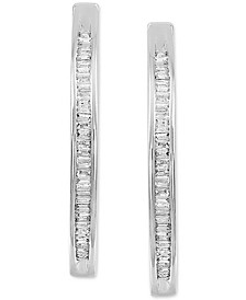 Diamond Baguette Medium Hoop Earrings (1/2 ct. t.w.) in Sterling Silver, 1.8""