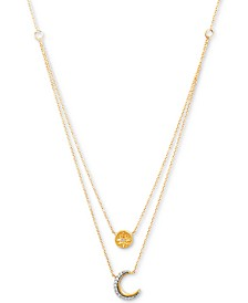 "Diamond Star & Moon Layered Pendant Necklace (1/20 ct. t.w.) in 14k Gold-Plated Sterling Silver, 17"" + 1"" extender"