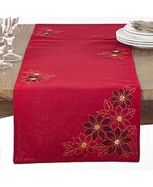 Red Poinsettia Table Runner