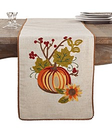Embroidered Pumpkin Floral Thanksgiving Table Runner