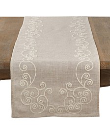 Embroidered Swirl Design Natural Linen Blend Table Runner