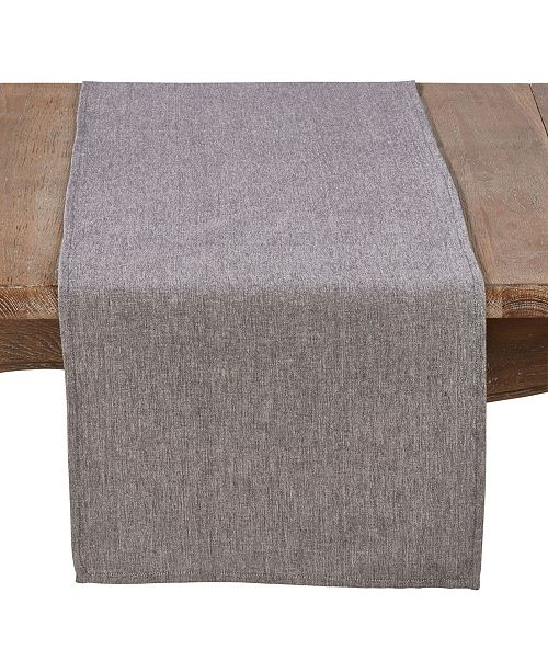 Saro Lifestyle Cotton Table Runner In Solid Grey