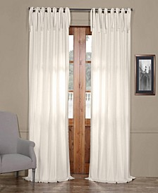 Solid Cotton Tie-Top Curtain Panel