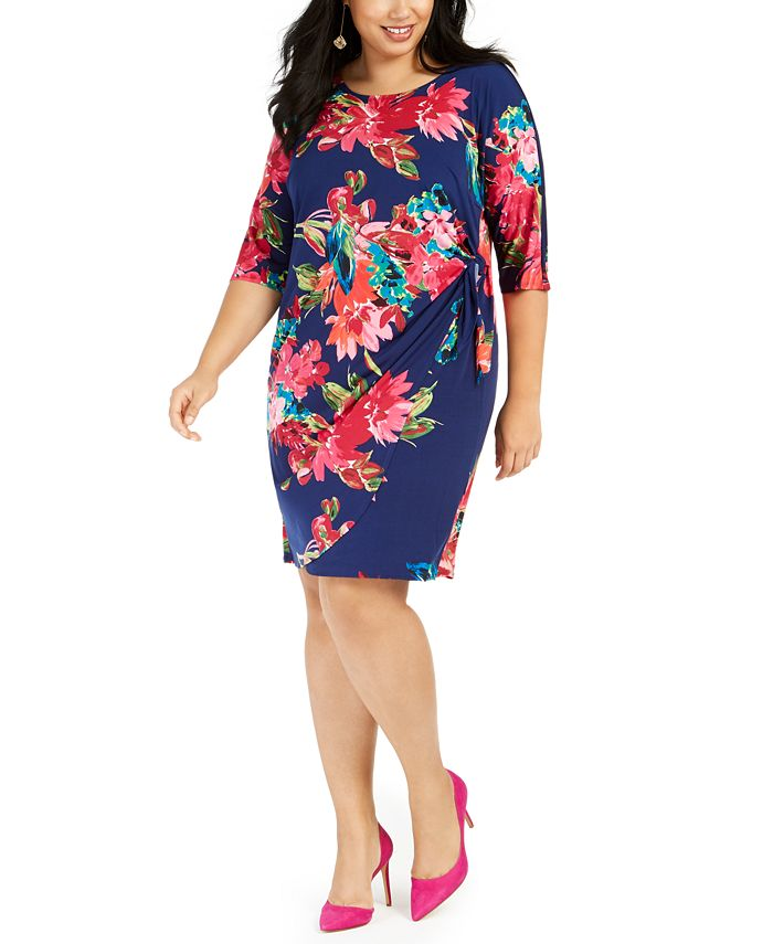 Robbie Bee - Plus Size Floral Side-Knot Dress