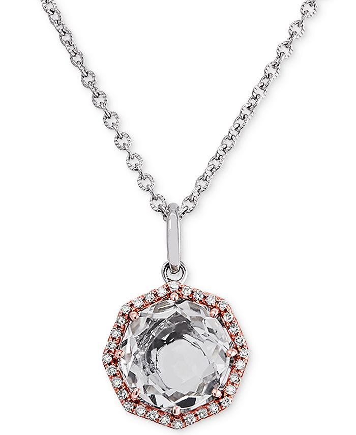 "Macy's - White Quartz (2-1/3 ct. t.w.) & Diamond (1/6 ct. t.w.) 18"" Pendant Necklace in Sterling Silver & 14k Rose Gold-Plate"