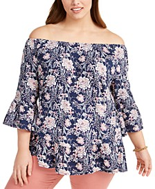 Plus Size Printed On-Or-Off-The-Shoulder Top, Created for Macy's