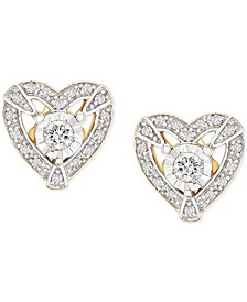 Diamond Heart Halo Stud Earrings (1/4 ct. t.w.) in 14k Gold