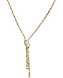 "Diamond Cluster Lariat Necklace (1/5 ct. t.w.) in 14k Gold, 15-3/4"" + 2"" extender"