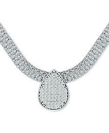 """Cubic Zirconia Pavé Teadrop 17"""" Pendant Necklace in Sterling Silver"""