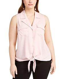INC Plus Size Tie-Hem Sleeveless Blouse, Created For Macy's