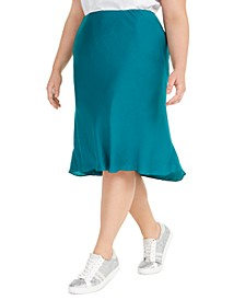 I.N.C. Plus Size Bias-Cut Midi Skirt, Created for Macy's