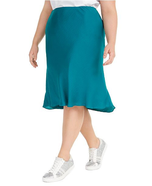 INC International Concepts I.N.C. Plus Size Bias-Cut Midi Skirt, Created For Macy's