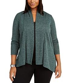Plus Size Marled-Knit Cardigan