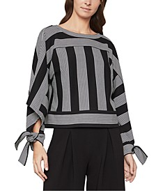 Striped Tie-Sleeve Top
