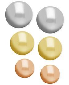 Tri-Tone 3-Pc. Set Ball Stud Fine Silver Plate Earrings
