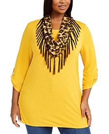 Plus Size Removable-Scarf Top