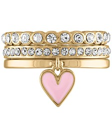 Gold-Tone 3-Pc. Set Enamel Heart & Crystal Band Stackable Rings