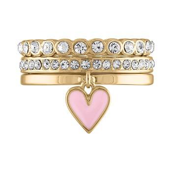 Rachel Roy GoldTone 3-Piece Set Enamel Heart & Crystal Band Rings