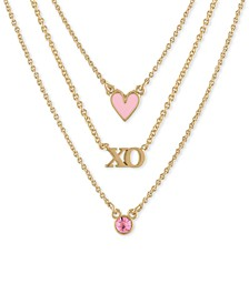 "Gold-Tone Crystal, XO & Heart Layered Necklace, 16"" + 2"" extender"