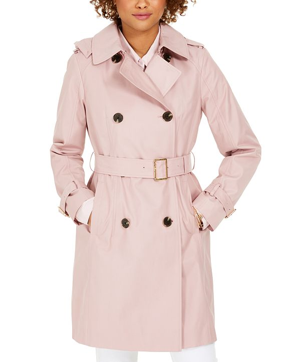 Michael Kors Belted Double-Breasted Water-Resistant Hooded Trench Coat