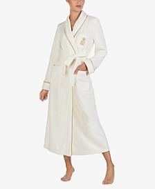 Fleece Shawl Collar Long Robe