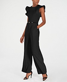 Petite Belted Ruffle-Sleeve Jumpsuit