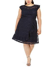 Monteau Trendy Plus Size Ruffled Skater Dress