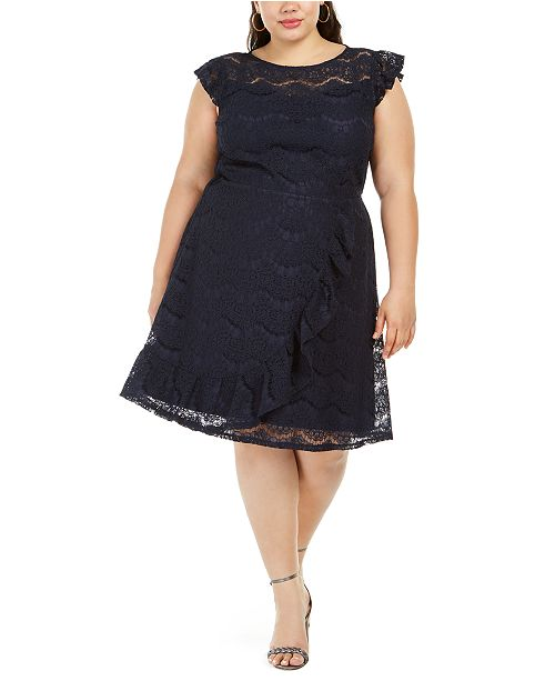 Monteau Trendy Plus Size Ruffled Skater Dress