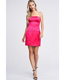 Stretch Satin Strapless Woven Dress