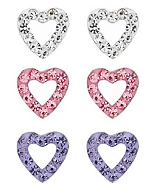 Children's  Crystal Hearts Stud Earrings - Set of 3 in Sterling Silver