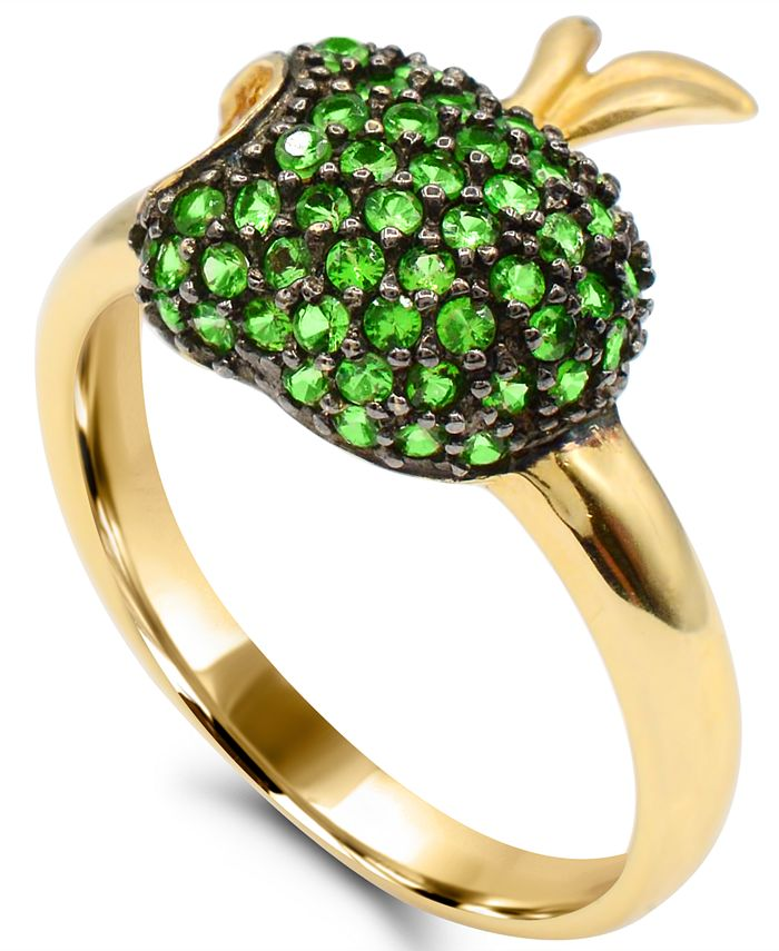 Macy's - Tsavorite (1-1/4 ct. t.w.) and Yellow Sapphire (1/10 ct. t.w.) Apple Ring in 14K Gold