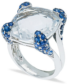 White Quartz (14-1/2ct) Blue Sapphire (2-1/4 ct. t.w.) Ring in Sterling Silver
