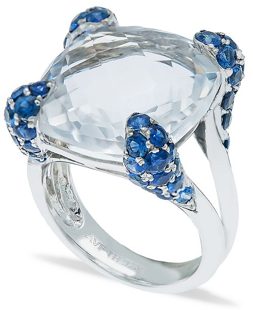 Macy's White Quartz (14-1/2ct) Blue Sapphire (2-1/4 ct. t.w.) Ring in Sterling Silver