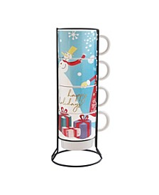 Happy Holiday 5 Piece Mug Set w/ Metal Rack