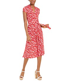 Printed V-Neck Fit & Flare Dress