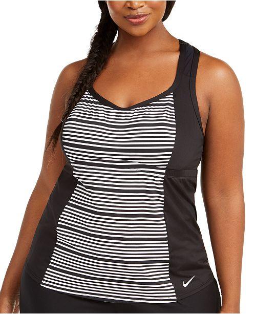 Nike Plus Size Stripe Racerback Tankini Top