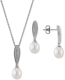 2-Pc. Set Cultured Freshwater Pearl (7-1/2mm & 8-1/2mm) & Diamond Accent Pendant Necklace & Matching Drop Earrings in Sterling Silver