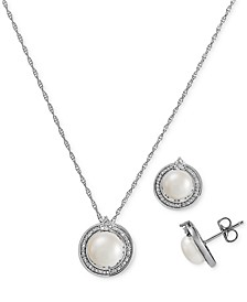 2-Pc. Set Cultured Freshwater Pearl (7-1/2 & 8-1/2mm) & Diamond (1/10 ct. t.w.) Halo Pendant Necklace & Matching Drop Earrings in Sterling Silver