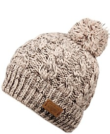 Cable Pom Beanie with Sherpa Lining